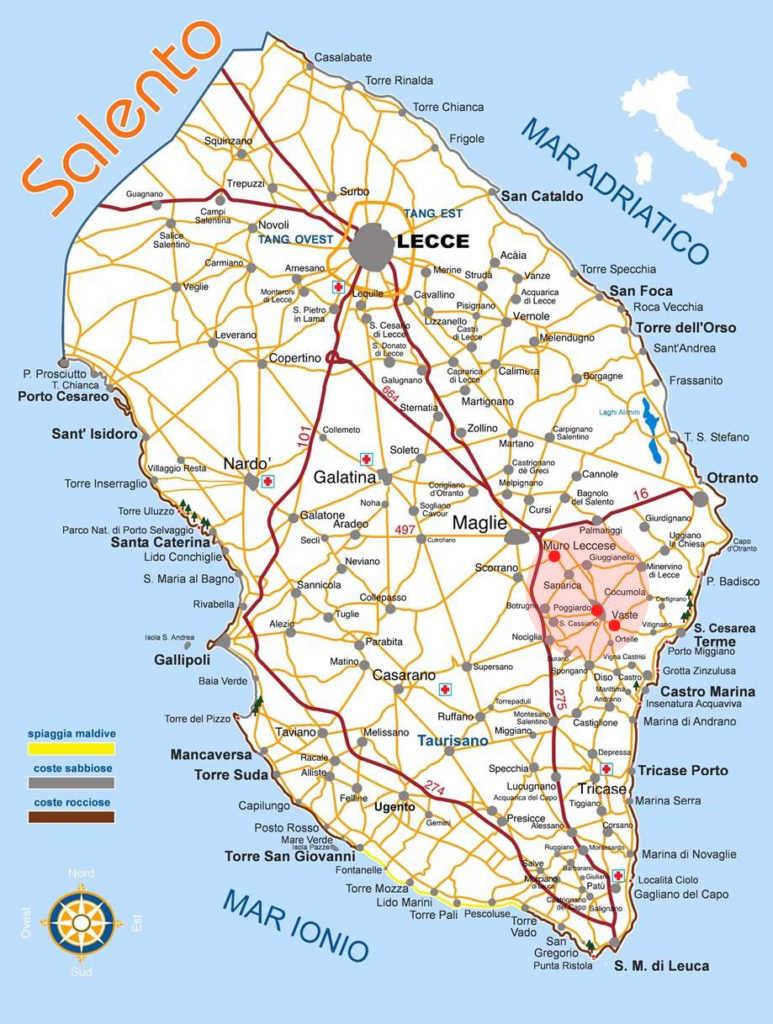 Cartina del Salento Lecce e Puglia